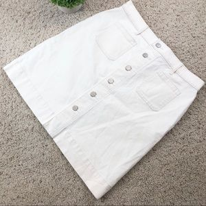 LOFT off white Button Up denim mini skirt